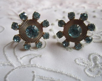 Vintage Silver Tone Screw Back Earrings with Light Blue Faceted Rhinestones