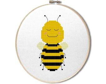 "Bee cross stitch pattern: ""Cute kawaii bumble bee"" - cross stitch pdf pattern, animal cross stitch, insect cross stitch - INSTANT DOWNLOAD"