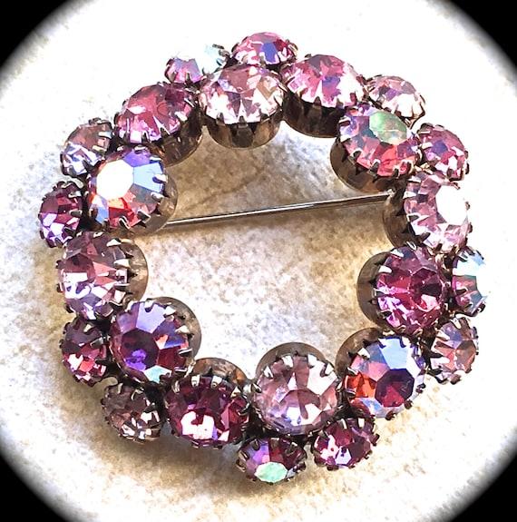 Pink aurora borealis rhinestone brooch- Round Brooch-Vintage Pink Rhinestone Brooch - Vintage Accessory- Scarf Pin-Pink Rhinestone Jewelry