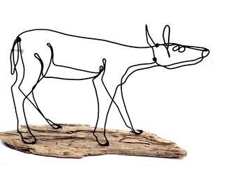 Deer Wire Sculpture, Doe Wildlife Wire Sculpture, Minimal Wire Sculpture, Deer Art, 479979119