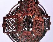 3-D Wood Round Celtic Cross Ornament