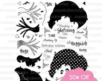 50% off Special Offer... Tree Hugs Stamp Set - Paperbabe Stamps - Clear Photopolymer Stamps - For paper crafting and scrapbooking.