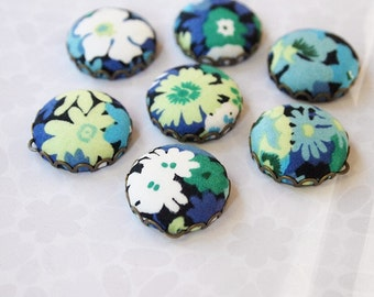 Liberty Fabric Charms 20mm Blue Green White Floral set of 7 Charms DIY Earrings, Necklace, DIY Jewelry, Bridesmaid (set 1a)