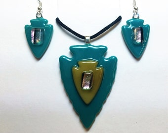 Arrowhead Fused Glass Pendant and Earring Set