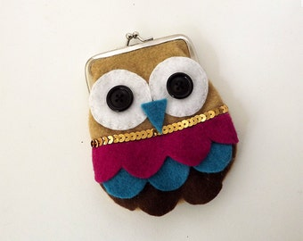 Owl purse, owl wallet, coint purse.