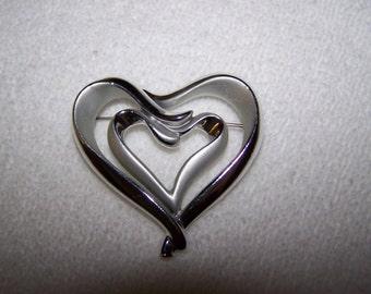 Silver Heart inside a Heart Shaped Brooch