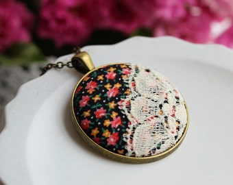Floral Necklace, Cute Jewelry, Fabric and Lace Pendant, Cotton, Anniversary Gift, Boho Necklace, Vintage Fabric Jewelry, Pink, Orange, Black