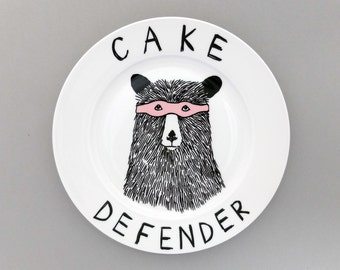 The Cake Defender Bear side plate