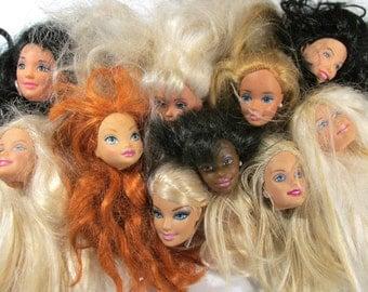 Barbie Doll Heads Ten (10) VINTAGE Doll Heads BARBIE Doll Heads Clones Art Jewelry Assemblage Doll Heads Doll Making Supplies (G171)