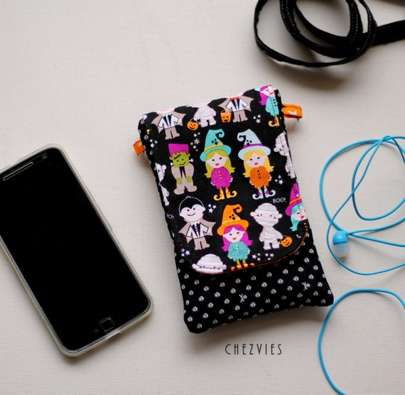 Halloween iPhone pouch, padded cell phone cover,iPod sleeve, crossbody bag, mini sling bag for Iphone 6, Samsung galaxy S6, Nexus, LG