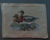 finished needlepoint vintage needlepoint pair of Mallard ducks swimming, man cave cabin decor 10 by 14 inches
