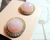Pink Glass Rhinestone Vintage Earrings Clip On Vintage Jewelry