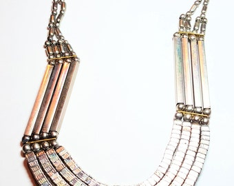 Multi Strand Boho Vintage Necklace Silver Gold Vintage Jewelry