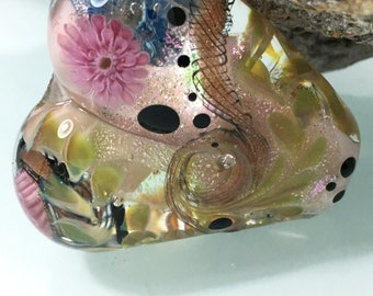 Glitter and Flower Heart Focal Bead  by Caroline Dousi