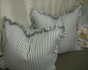 "Pair of Ruffled Pillow Slipcovers in Cotton Ticking Stripe-1"" Ruffled Detail-Two Pillow Shams-18x18-Other Sizes and Colors Available"