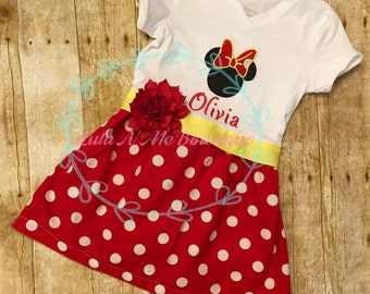 Minnie Mouse dress, Disney dress, red polka dot dress, Disney dress, Birthday dress