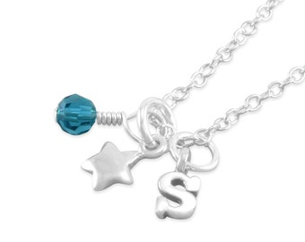 Star Necklace, Sterling Silver, december birthstone, initial, little girls birthday, childrens jewelry, for niece, teal, blue, girl, STACI