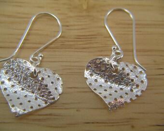 Sterling Silver Heart Earrings, Modern Silver Heart Earrings, Pretty Earrings, Heart Pendant, Minimalist Silver Earrings, Dangle Earrings
