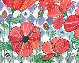 Cherry Stain - Original Watercolor Painting with Big Bright Red Poppies and a Diamond Background