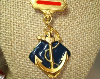 1992 Nautical Anchor Medallion Medal Pin.