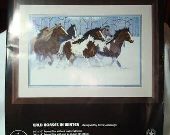 1995 Demensions Wild Horses In Winter Crewel Working Kit.