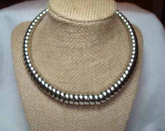 1989 Silver Tone  Coiled Spring Like Choker.