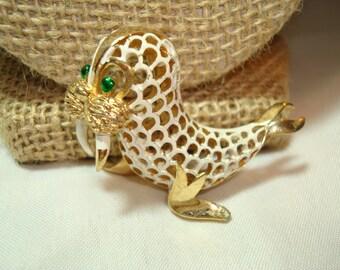 1960s 1970s TRIFARI White and Gold Walrus Pin.