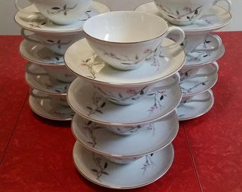 """Japan Fine China """"Cherry Blossom"""" - set of 6 teacups and saucers"""