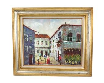 Mid-Century Framed Signed Oil On Canvas Impressionist Spanish Street Scene Hollywood Regency 23x27