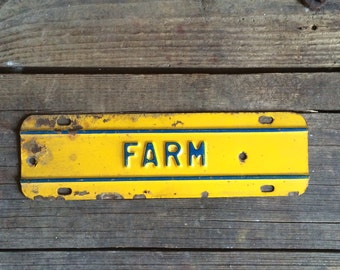 Vintage Metal Sign Farm Tag Yellow & Blue