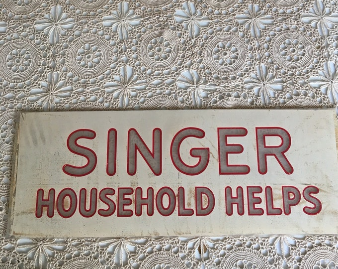 Antique Sign Singer Household Helps Reverse Painted Glass