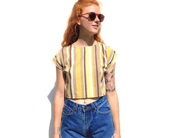 Yellow anc brown retro striped cap sleeve crop top UPCYCLED