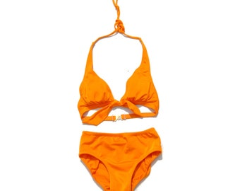 Citrus orange halter two piece swimsuit PETITE 1990s 90s VINTAGE