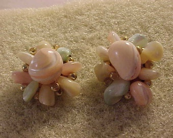 Cluster Bead Clip On Earrings Natural Shape Beads