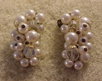 Cluster Bead Clip On Earrings White Beads on Gold