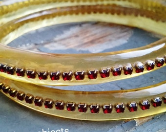Scarlett - handmade resin bangle pair, vintage 1940s ruby red rhinestone salvage inlay, bracelet set