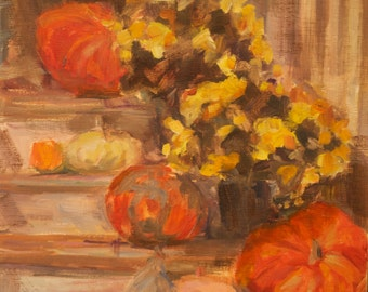 Sale, Fall Painting, Pumpkins, Mums, Fall Decor, Gourds, House porch, Fall decorations, Original oil, Country Chic, Porch steps, fall colors