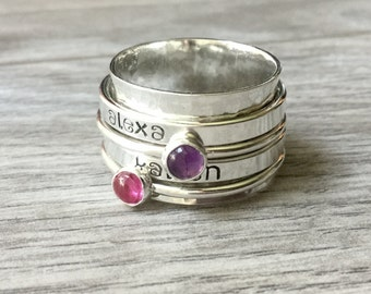 Dual Birthstone name ring Sterling silver spinner ring worry fidget anxiety ring personalized jewelry sterling silver ring