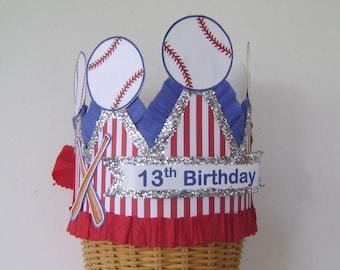 Boy Birthday party Hat, 13th Birthday, Boy birthday crown, baseball birthday hat, customize
