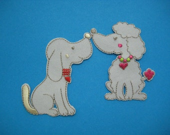 Set of 2 pcs Iron-on Embroidered Patch Love 2.6 inch