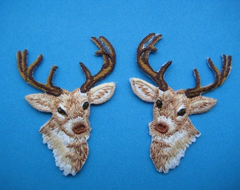 SALE~ Iron-on embroidered Patch a Pair of Deer 2.25 inch
