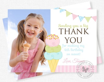 Ice Cream Thank You Card, Photo Thank You Card, Ice Cream Party Thank You Notes, Pastel Thank You, Personalized