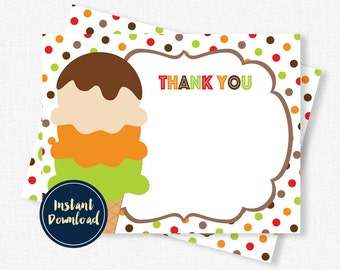 Ice Cream Thank You Cards, Fall Thank You Cards, Birthday Thank You, Autumn Thank You, Printable INSTANT DOWNLOAD