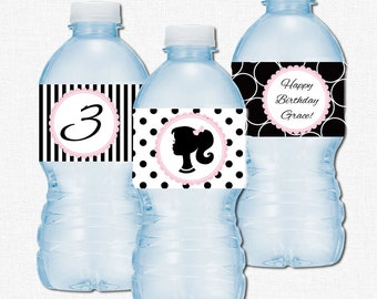 Glam Girl Water Bottle Labels, Barbie Water Bottle Label Wraps, Girl Birthday Decorations, Blush Pink Black and White