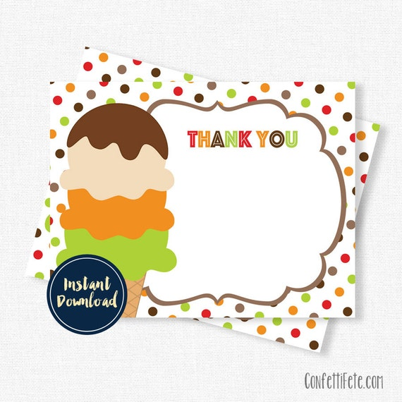Ice Cream Thank You Cards Fall Thank You Cards Birthday Thank You