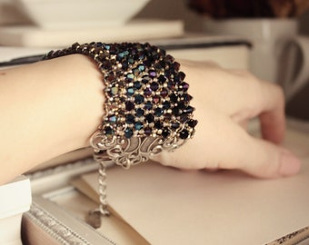 Swarovksi Beaded Bracelet - Blue - Black - Sliver - Statement Jewelry - Fashion - Unique  Valentines Day - Love - January - Winter - Bridal