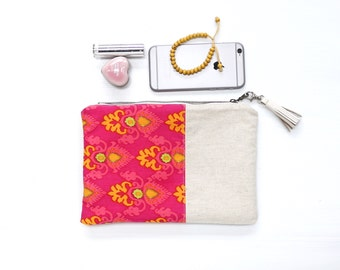 Ikat Clutch, Evening Bag, Handbag, Wallet, Purse, Fuschia Pink, Bridesmaid Gift, Cosmetic Case