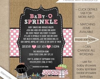 Baby Q baby sprinkle invitations, FREE SHIPPING digital or printed, girl baby q invites, couples baby q shower, chalkboard burlap