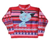 BLOWOUT 40% off sale Vintage 90s Blue Cat on Red Sweater - Kids Small 4 5 - Childrens, girls