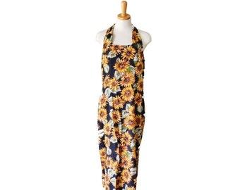 CIJ 40% off sale // Vintage 90s SUNFLOWER Sun Dress - Women Medium - Floral Pattern, RJ Stevens for Carol Escritor